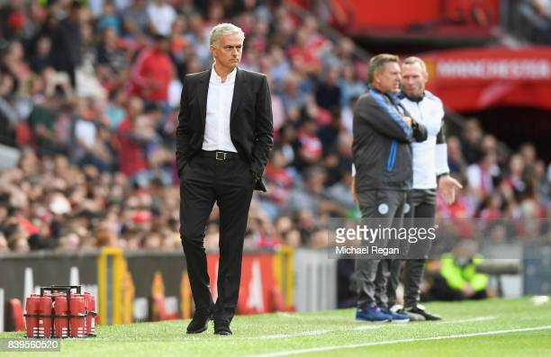 Jose Mourinho Manager of Manchester United looks on during the Premier League match between Manchester United and Leicester City at Old Trafford on...