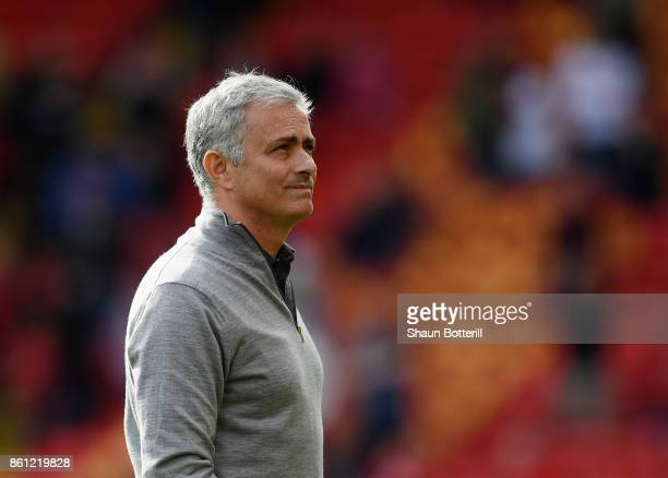 Jose Mourinho Manager of Manchester United looks on during the Premier League match between Liverpool and Manchester United at Anfield on October 14...