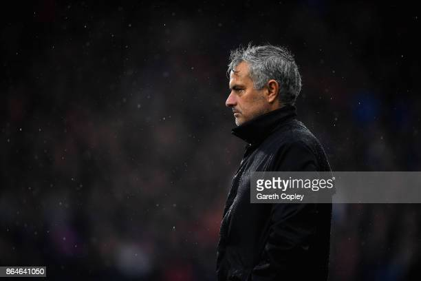 Jose Mourinho Manager of Manchester United looks on during the Premier League match between Huddersfield Town and Manchester United at John Smith's...