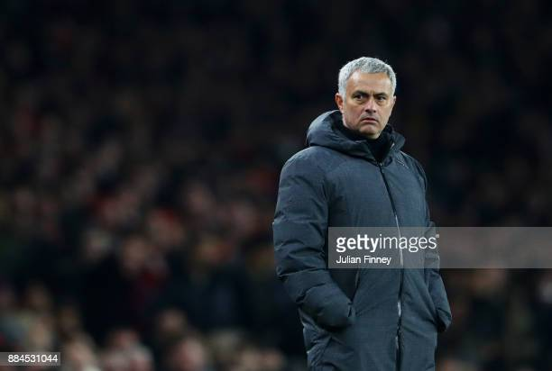 Jose Mourinho Manager of Manchester United looks on during the Premier League match between Arsenal and Manchester United at Emirates Stadium on...