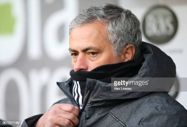 Jose Mourinho Manager of Manchester United looks on during the Premier League match between Burnley and Manchester United at Turf Moor on January 20...