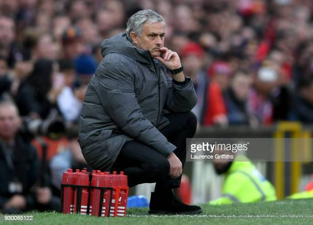 Jose Mourinho Manager of Manchester United looks on during the Premier League match between Manchester United and Liverpool at Old Trafford on March...
