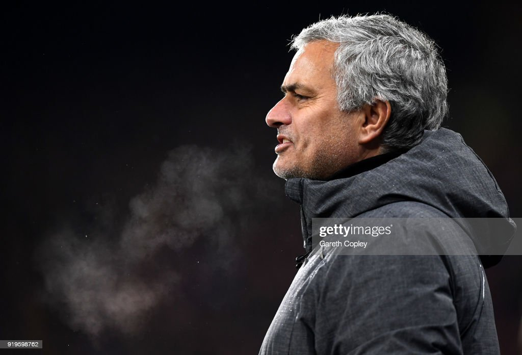 Jose Mourinho, Manager of Manchester United looks on during the The Emirates FA Cup Fifth Round between Huddersfield Town v Manchester United on February 17, 2018 in Huddersfield, United Kingdom.