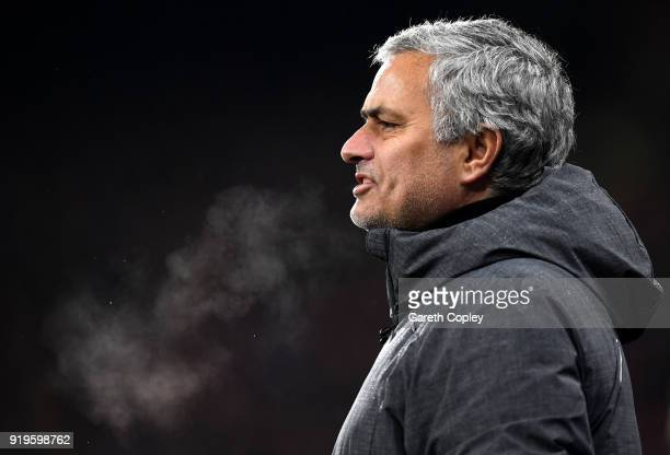 Jose Mourinho Manager of Manchester United looks on during the The Emirates FA Cup Fifth Round between Huddersfield Town v Manchester United on...