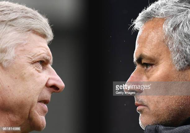 GRADIENT ADDED COMPOSITE OF TWO IMAGES Image numbers 927075322 and 919597400 In this composite image a comparison has been made between Arsene Wenger...