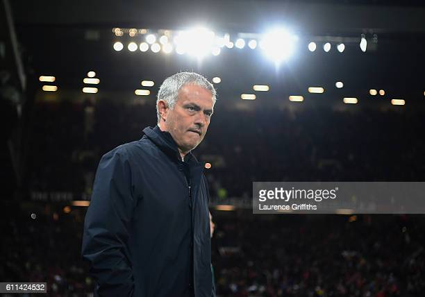 Jose Mourinho Manager of Manchester United looks on during the UEFA Europa League group A match between Manchester United FC and FC Zorya Luhansk at...