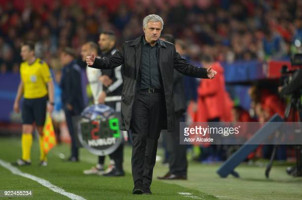 Jose Mourinho Manager of Manchester United looks on during the UEFA Champions League Round of 16 First Leg match between Sevilla FC and Manchester...