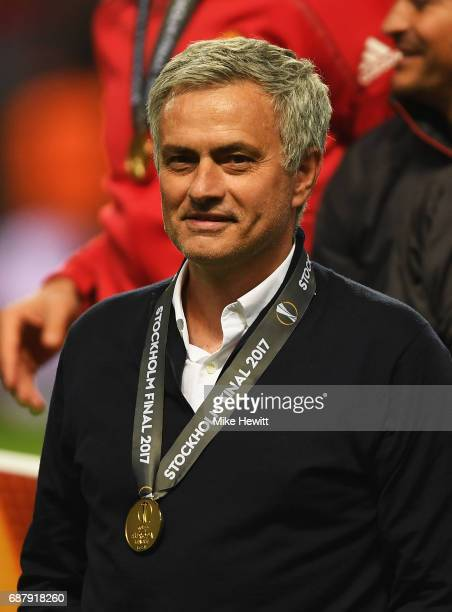 Jose Mourinho Manager of Manchester United looks on following victory in the UEFA Europa League Final between Ajax and Manchester United at Friends...