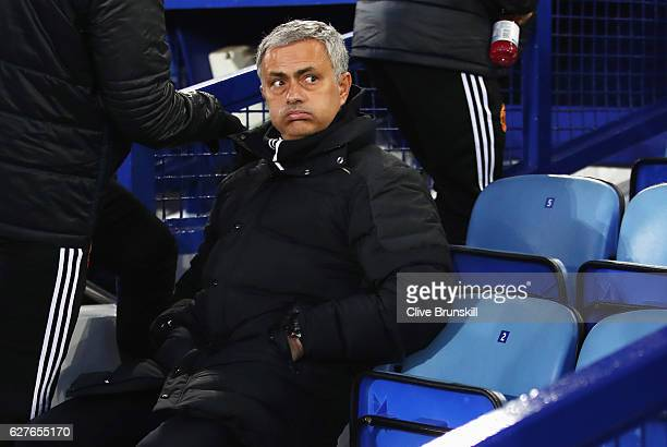 Jose Mourinho manager of Manchester United looks on fromthe bench prior to the Premier League match between Everton and Manchester United at Goodison...