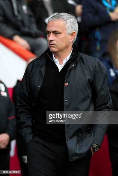 Jose Mourinho Manager of Manchester United looks on prior to the Premier League match between AFC Bournemouth and Manchester United at Vitality...