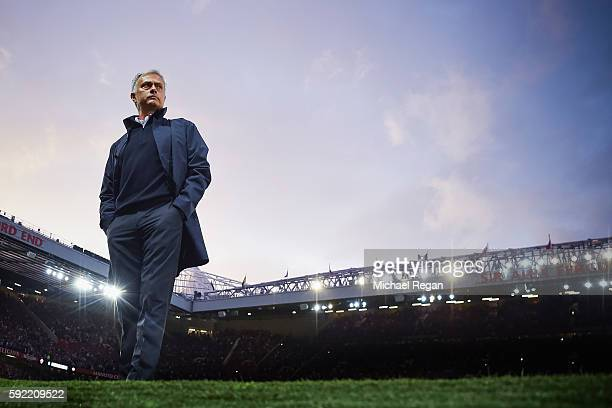 Jose Mourinho Manager of Manchester United looks on prior to the Premier League match between Manchester United and Southampton at Old Trafford on...
