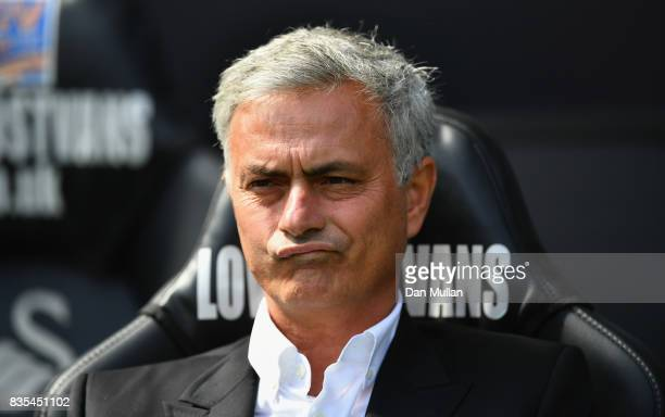 Jose Mourinho Manager of Manchester United looks on prior to the Premier League match between Swansea City and Manchester United at Liberty Stadium...