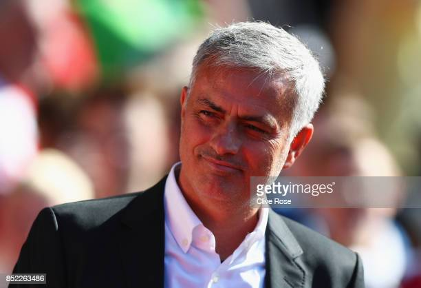 Jose Mourinho Manager of Manchester United looks on prior to the Premier League match between Southampton and Manchester United at St Mary's Stadium...