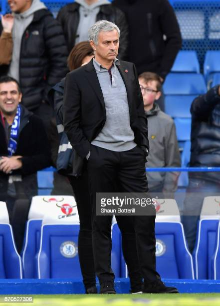 Jose Mourinho Manager of Manchester United looks on prior to the Premier League match between Chelsea and Manchester United at Stamford Bridge on...