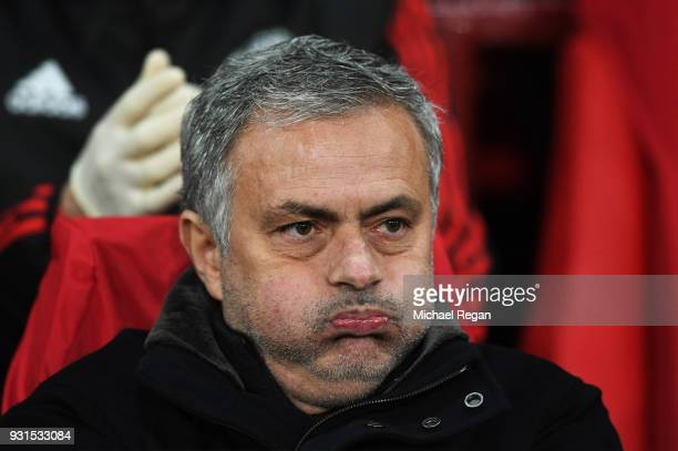 Jose Mourinho Manager of Manchester United looks on prior to the UEFA Champions League Round of 16 Second Leg match between Manchester United and...