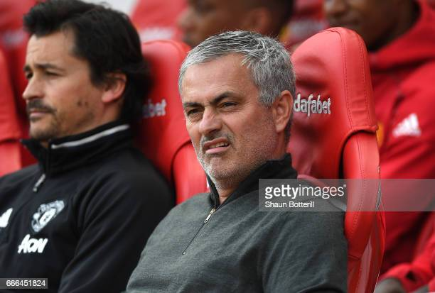 Jose Mourinho Manager of Manchester United looks on with assistant Rui Faria during the Premier League match between Sunderland and Manchester United...