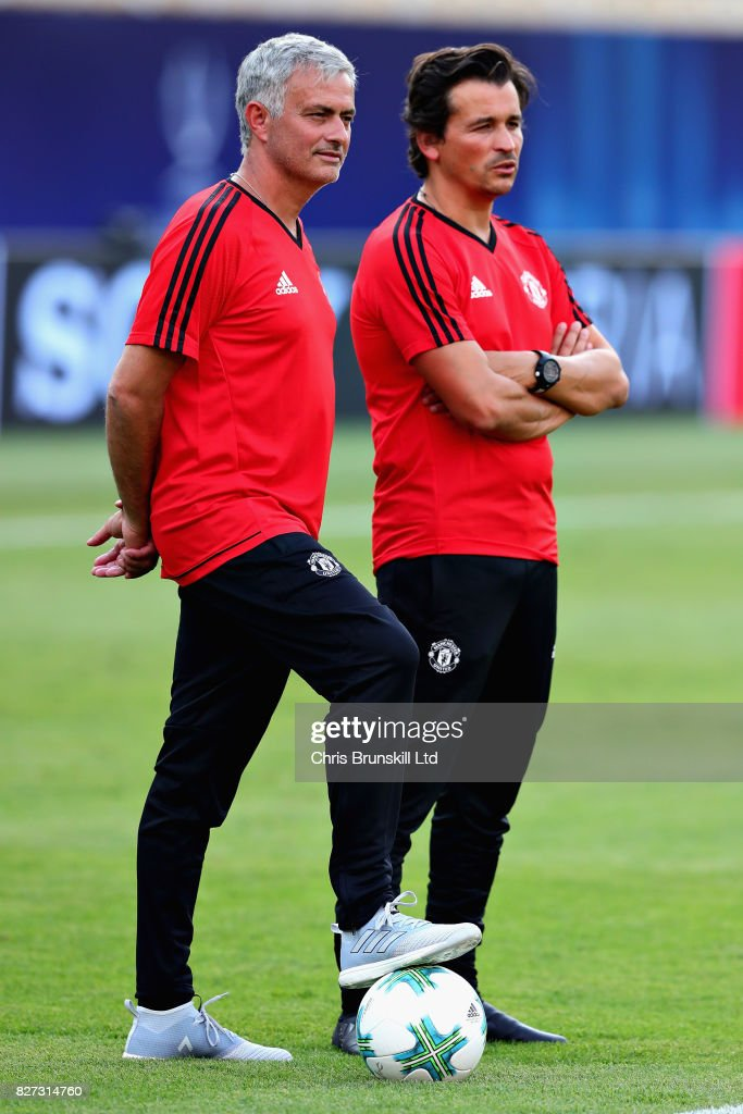Jose Mourinho, Manager of Manchester United looks on with assistant Rui Faria during a training session ahead of the UEFA Super Cup at the National Arena Filip II Macedonian on August 7, 2017 in Skopje, Macedonia.