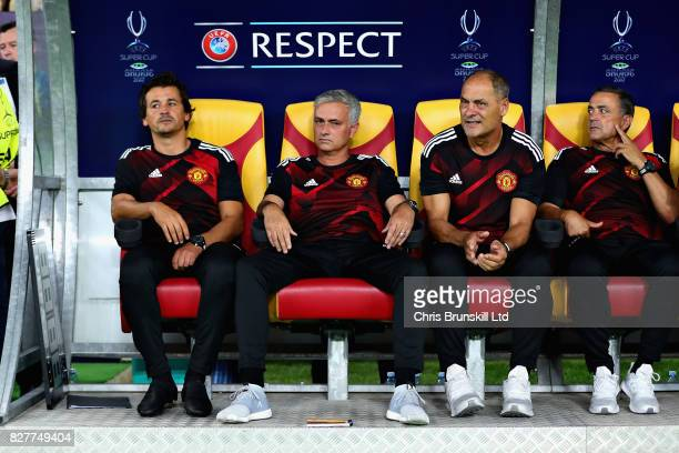 Jose Mourinho Manager of Manchester United looks on with Rui Faria his Assistant Manager during the UEFA Super Cup match between Real Madrid and...