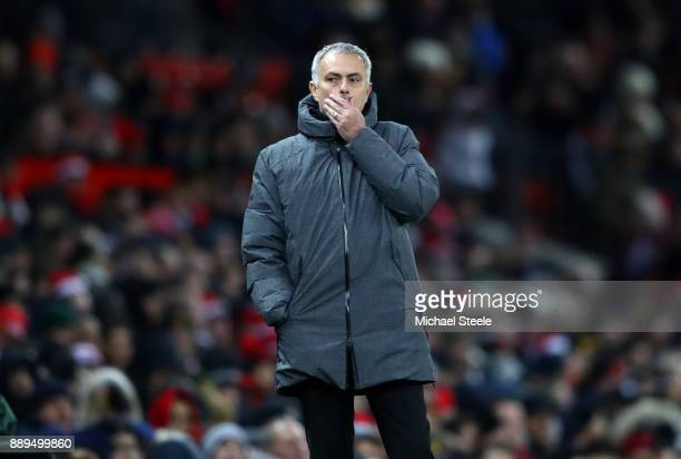 Jose Mourinho Manager of Manchester United looks thoughtful during the Premier League match between Manchester United and Manchester City at Old...