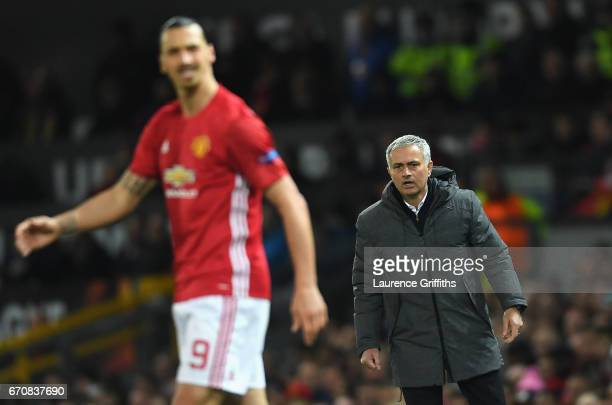 Jose Mourinho manager of Manchester United looks towards Zlatan Ibrahimovic of Manchester United during the UEFA Europa League quarter final second...