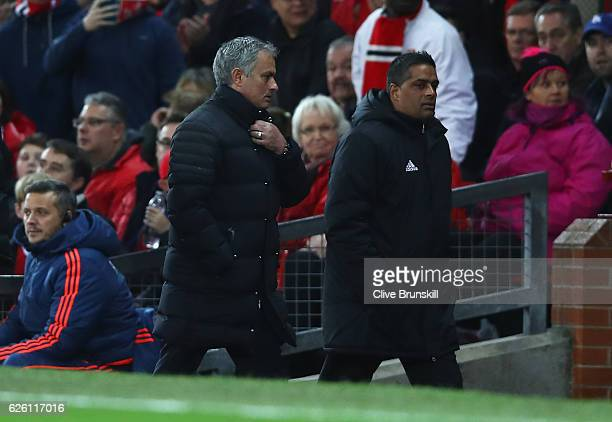 Jose Mourinho Manager of Manchester United makes his way to the stands after being sent there by their by the referee during the Premier League match...