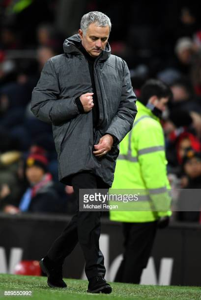 Jose Mourinho Manager of Manchester United reacts after the Premier League match between Manchester United and Manchester City at Old Trafford on...