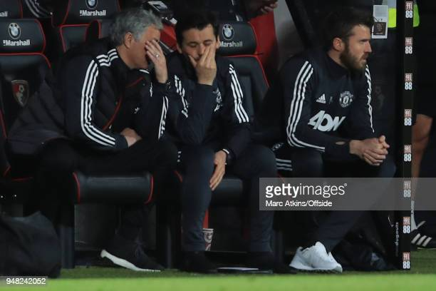 Jose Mourinho manager of Manchester United reacts alongside assistant Rui Faria during the Premier League match between AFC Bournemouth and...
