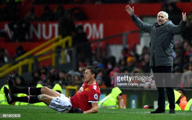 Jose Mourinho Manager of Manchester United reacts as Nemanja Matic of anchester United goes down during the Premier League match between Manchester...