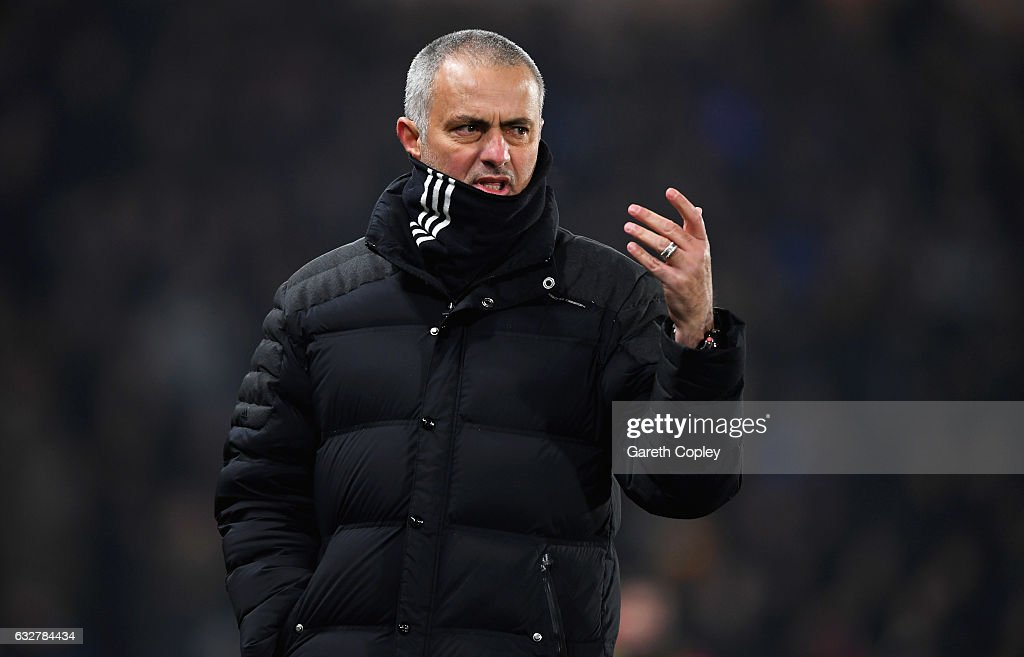 Jose Mourinho manager of Manchester United reacts during the EFL Cup Semi-Final second leg match between Hull City and Manchester United at KCOM Stadium on January 26, 2017 in Hull, England.
