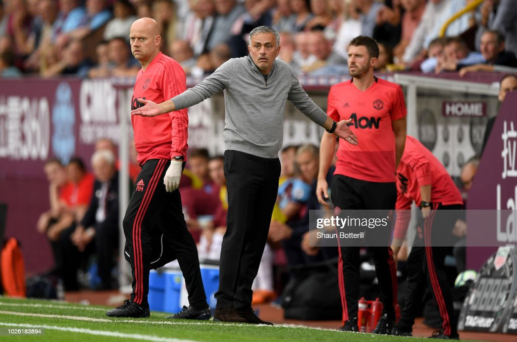 Jose Mourinho, Manager of Manchester United reacts during the Premier League match between Burnley FC and Manchester United at Turf Moor on September 2, 2018 in Burnley, United Kingdom.