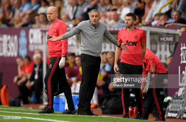 Jose Mourinho Manager of Manchester United reacts during the Premier League match between Burnley FC and Manchester United at Turf Moor on September...