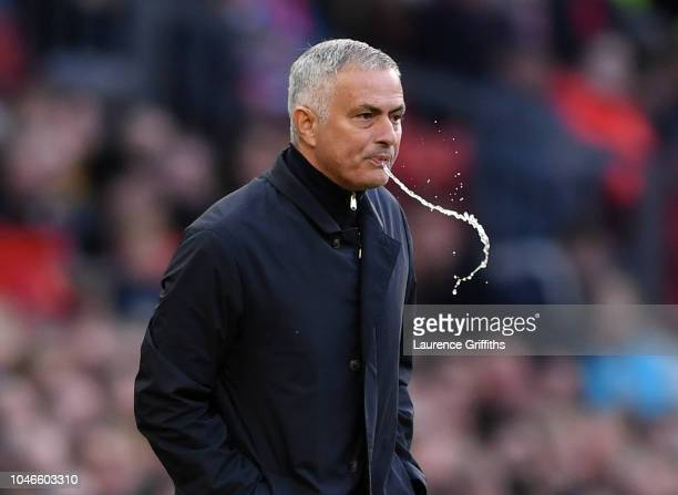 Jose Mourinho Manager of Manchester United reacts during the Premier League match between Manchester United and Newcastle United at Old Trafford on...