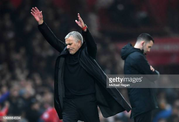Jose Mourinho Manager of Manchester United reacts during the Premier League match between Manchester United and Arsenal FC at Old Trafford on...