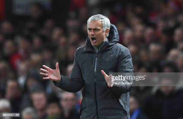 Jose Mourinho Manager of Manchester United reacts during the Premier League match between Manchester United and Everton at Old Trafford on April 4...