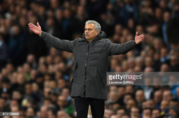 Jose Mourinho Manager of Manchester United reacts during the Premier League match between Manchester City and Manchester United at Etihad Stadium on...