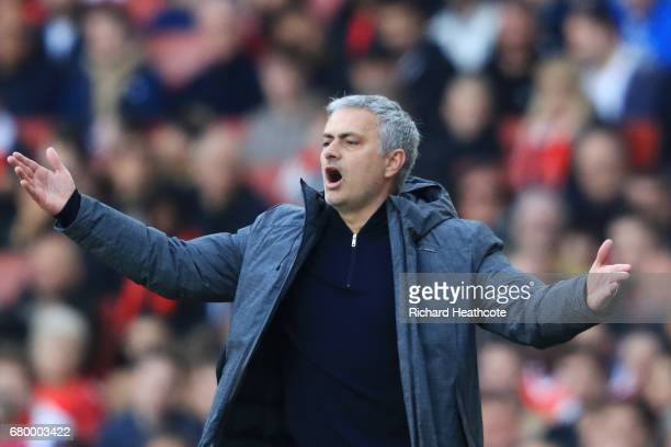 Jose Mourinho Manager of Manchester United reacts during the Premier League match between Arsenal and Manchester United at the Emirates Stadium on...