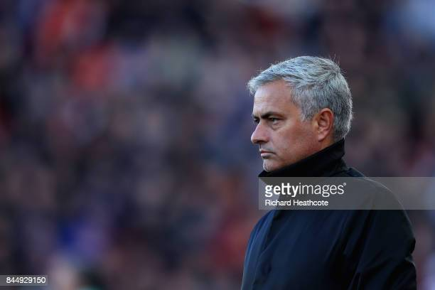 Jose Mourinho Manager of Manchester United reacts during the Premier League match between Stoke City and Manchester United at Bet365 Stadium on...