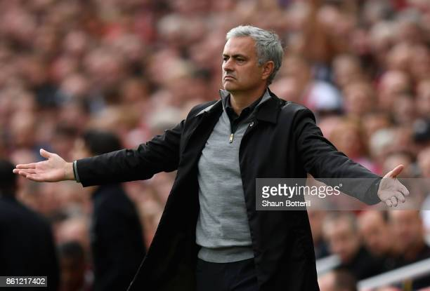 Jose Mourinho Manager of Manchester United reacts during the Premier League match between Liverpool and Manchester United at Anfield on October 14...