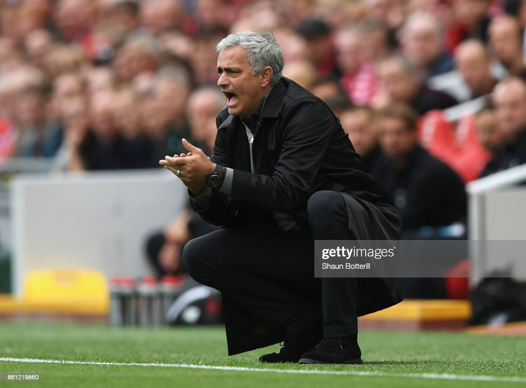 Jose Mourinho, Manager of Manchester United reacts during the Premier League match between Liverpool and Manchester United at Anfield on October 14, 2017 in Liverpool, England.