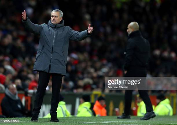 Jose Mourinho Manager of Manchester United reacts during the Premier League match between Manchester United and Manchester City at Old Trafford on...