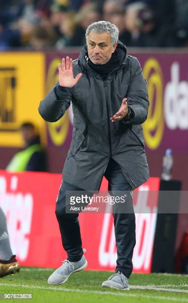 Jose Mourinho Manager of Manchester United reacts during the Premier League match between Burnley and Manchester United at Turf Moor on January 20...
