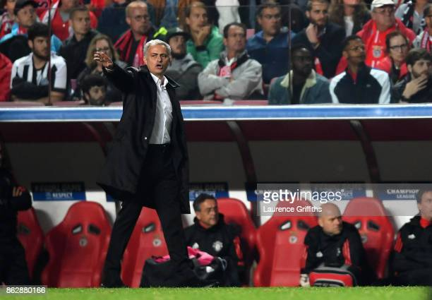 Jose Mourinho Manager of Manchester United reacts during the UEFA Champions League group A match between SL Benfica and Manchester United at Estadio...