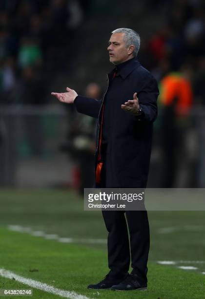 Jose Mourinho manager of Manchester United reacts on the touchline during the UEFA Europa League Round of 32 second leg match between AS SaintEtienne...