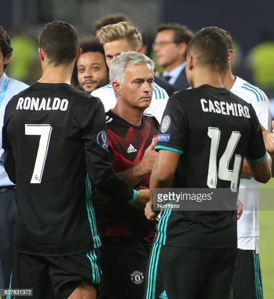 Jose Mourinho Manager of Manchester United shakes hands with Casemiro of Real Madrid after the UEFA Super Cup match between Real Madrid and...