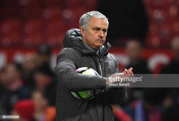 Jose Mourinho Manager of Manchester United shows appreciation to the fans after the Premier League match between Manchester United and Everton at Old...