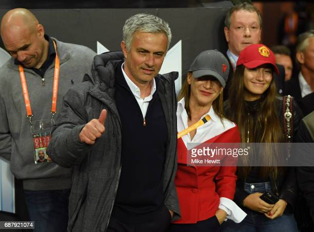 Jose Mourinho Manager of Manchester United shows appreciation to the fans after the UEFA Europa League Final between Ajax and Manchester United at...