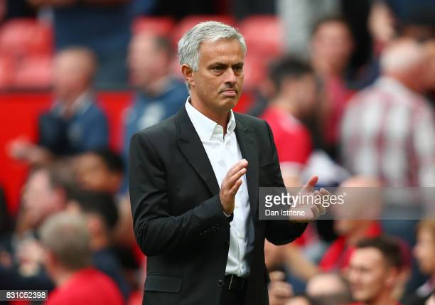 Jose Mourinho Manager of Manchester United shows appreciation to the fans after the Premier League match between Manchester United and West Ham...