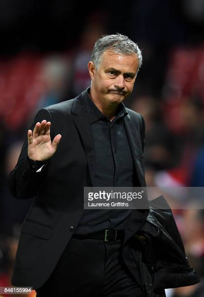 Jose Mourinho Manager of Manchester United shows appreciation to the fans after the UEFA Champions League Group A match between Manchester United and...