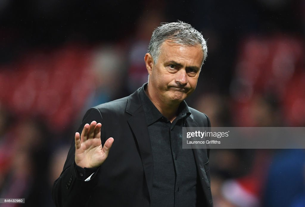Jose Mourinho, Manager of Manchester United shows appreciation to the fans after the UEFA Champions League Group A match between Manchester United and FC Basel at Old Trafford on September 12, 2017 in Manchester, United Kingdom.