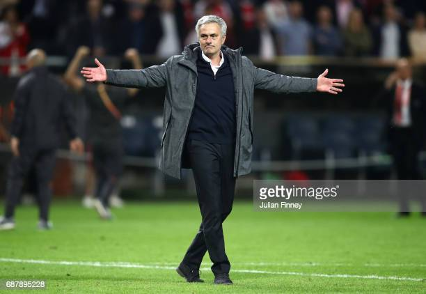 Jose Mourinho Manager of Manchester United shows his emotions as he celebrates victory following the UEFA Europa League Final between Ajax and...
